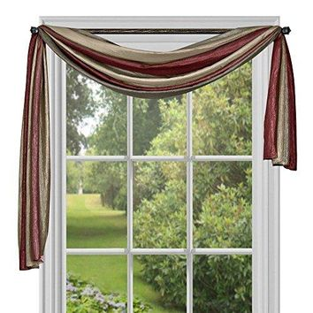 Ben&Jonah Collection Ombre Window Curtain Scarf 50x144 - Burgundy
