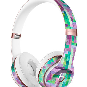 Purple and Green Watercolor Patchwork Full-Body Skin Kit for the Beats by Dre Solo 3 Wireless Headphones