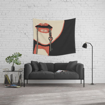 Yes Master, you have a key to my heart & body. Fetish erotic pop art illustration, sexy BDSM erotic Wall Tapestry by Casemiro Arts - Peter Reiss