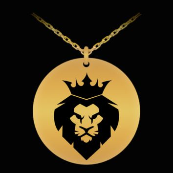 Lion Head Necklace - 18k Gold Palted/Stainless Steel Laser Engraved Pendant - Great Gift Charm For Men and Woman