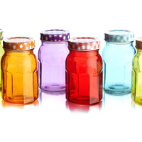 Colored Jars w/Lid, Set of 6, Kitchen Canisters, Canning & Spice Jars