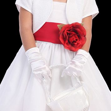 Satin Short Wrist Length Gloves Formal or Dress Accessory (Girls 18 months - Size 12)