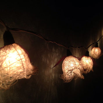 Fairy string lights 20 pieces for home decor,party decor,wedding patio,indoor string lights bedroom fairy lights white brown natural leaves
