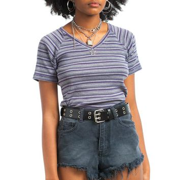 Vintage 90's Q&A Striped Top - One Size Fits Many
