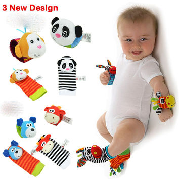 4PCS LOT Baby Boys Girls Toy Baby Rattle Wrist Foot sock Newborn baby Plush Sock (YYT121-YYT123)