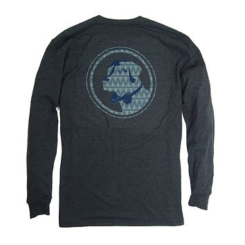 Pine Original Logo Long Sleeve Tee in Heather Blueberry by Southern Proper
