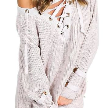 Women's Long Sleeve Self-Tying Strap Crisscross Self-tying Strap Solid Sweater Tunic