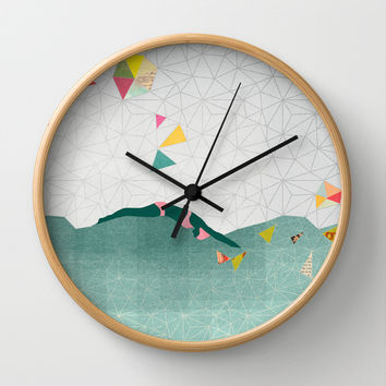 Swimmer Wall Clock by Orit Kalev