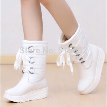 winter new arrival genuine leather flat ankle strap snow boots  comfortably casual short fashion shoes large size 34-43
