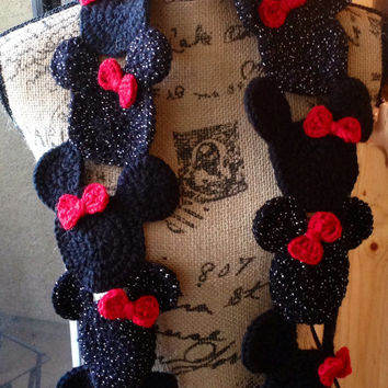 Mouse Scarf - Lady's Scarf - Womens Scarf - Winter Clothing - Crochet Scarf
