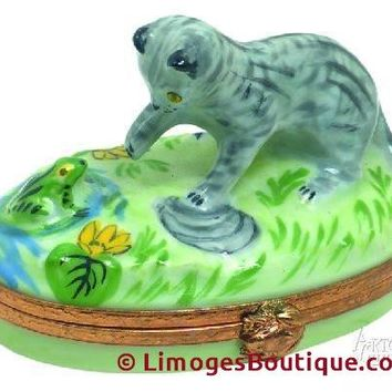 Kitten With Frog Limoges Boxes