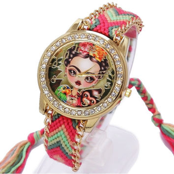 Rainbow Geneva Watch Women vintage Mexican Paint Frida Rhinestone Style dial Fashion wristwatch Lace Gold Chain Braid Reloj