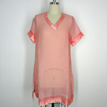 Kaftan Dress / Tunic Caftan / Swim Coverup / Vintage Indian Cotton Sari / Peach Floral Print / Limited Edition / Size S Small