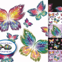 Butterfly digital paper Instant download Digital download Scrapbook paper set Printable paper Pack backgrounds Multicolor Butterflies Color