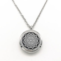 Mandala Metal Lace Aromatherapy Essential Oil Pendant Necklace Stainless Steel