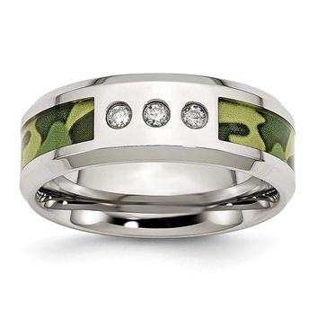 Men's Stainless Steel Polished Camoflauge Diamond Wedding Band Ring