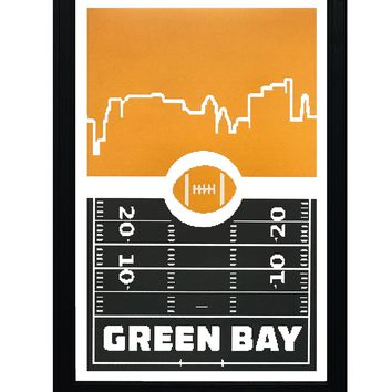 """Green Bay Packers Poster Art - Retro Video Game Print - 13x19"""""""