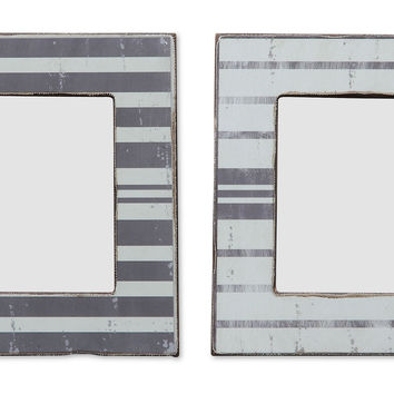 Asst. of 2 Striped Frames, 4x6, Gray, Frames