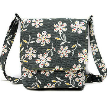 Small Hip Bag Messenger Style - Grey and Yellow Floral - Long Adjustable Strap