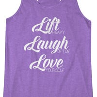 Lift Laugh Love -  Fitness Workout Racerback Tank Leg Day Tanktop Gym
