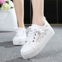 Summer 2018 Women Shoes Casual Cutouts Lace-UP Canvas Hollow Breathable Platform Flat Sneakers Shoes tenis feminino