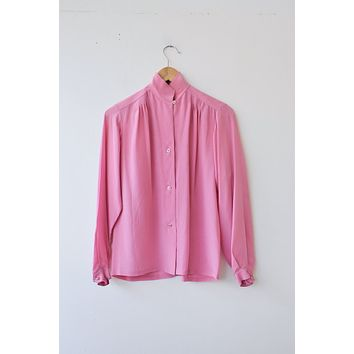 Chinoise Vintage Pink Silk Button Down Blouse