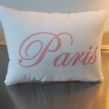 Paris  pillow handmade throw pillow Bff gift home gift pink white romantic decor boho cushion french chic cotton textiles home decor