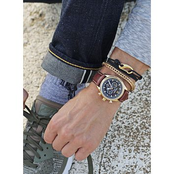 """Tower"" Gold Chain Bracelet for Men"