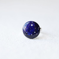 FREE WORLDWIDE SHIPPING - Stardust Deep Blue adjustable ring - Astronomy jewelry - night sky