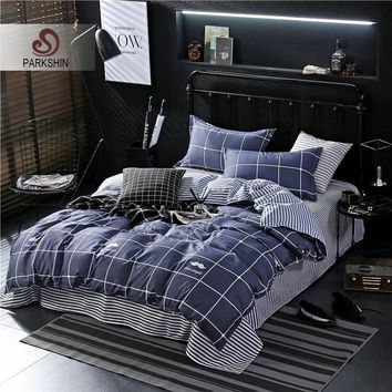 ParkShin Bedding Set Blue Lattice Comforter Duvet Cover Elastic Sheets Bedspread Bed Linens Set Double Bed Queen King Bedclothes