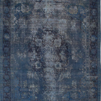 """9'6"""" x 12'9"""" Blue Vintage Persian Overdyed Rug"""