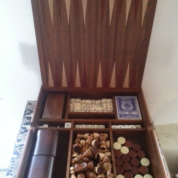 Vintage Gaming Game Night Wooden Box * Cards Chess Backgammon Cribbage Dice Dominoes * Vintage Man Cave Mid Century Home Decor