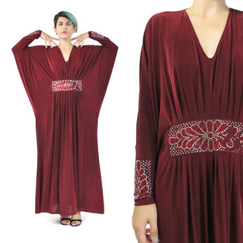 1970s Rhinestone Evening Gown Glam Caftan Dress Burgundy Red Maxi Dress Disco Party Dress Studio 54 Batwing Long Sleeves Draped Kaftan S/M/L