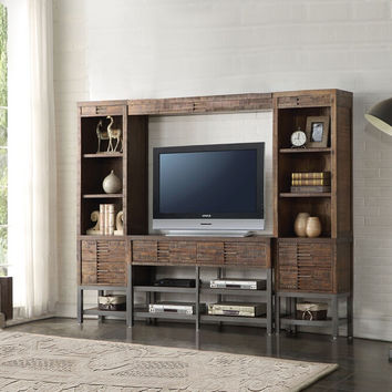 Acme 91620-23 4 pc Andria reclaimed oak finish wood slim profile entertainment center wall unit