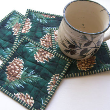 Quilted Coasters - Pine Cones