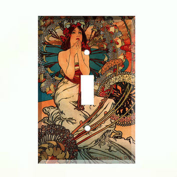 Light Switch Cover - Light Switch Plate Art Nouveau Alphonse Mucha Vintage Advertising