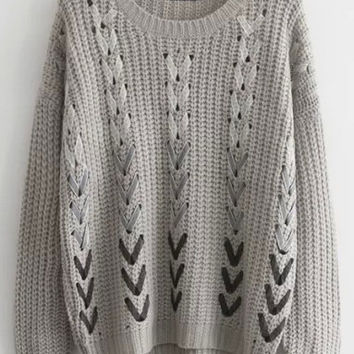 Grey Ribbon Embellished Sweater