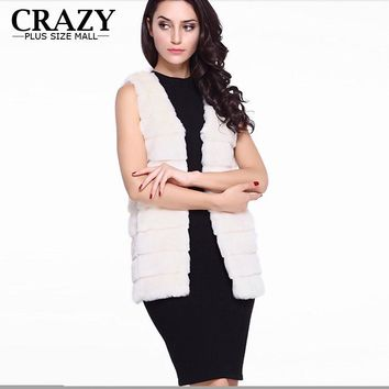 2017 Hot Autumn Winter Women Plus Size Women Clothing 5XL 4XL XXXL Fake Mink Fur Vest Ladies Vintage Faux Black White Fur Coats