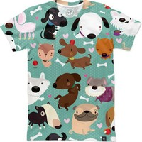 Dog Pattern Women's T-Shirts by Mjdaluz | Nuvango