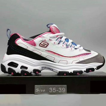 Skechers Fashion Casual Running Sports Sneakers Shoes White+Rose red G-XYXY-FTQ