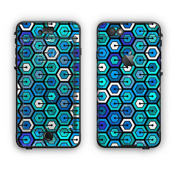 The Blue and Green Vibrant Hexagons Apple iPhone 6 LifeProof Nuud Case Skin Set