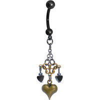 Handcrafted Antique Chandelier Trio of Hearts Dangle Belly Ring | Body Candy Body Jewelry