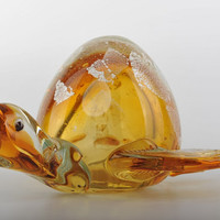 Glass Decoration of Orange Turtle with Large Back Home Decor Murano Art Styled Blown Glass Figurine Colorful Statue