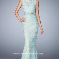 Blue Lace Sleeveless High Neck Long Prom Dress by Gigi