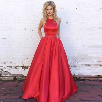A Line Red Halter Two Pockets Satin Prom Dresses