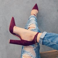 Breathtaking Burgandy Retro Fashion High Heel Shoes