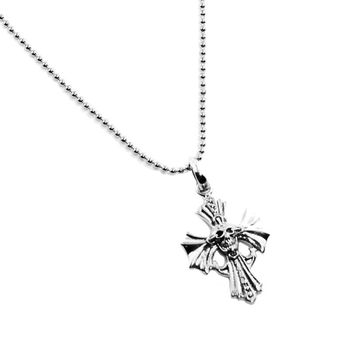 Skull Cross Necklace for Men in Sterling Silver Military Ball Chain