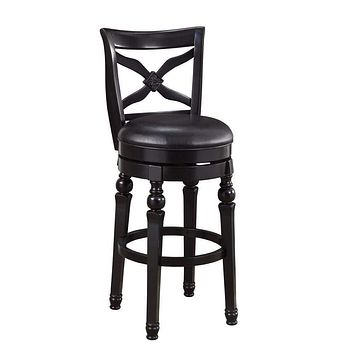 Swivel Bar Stool with Faux Leather Seat, Black By Coaster
