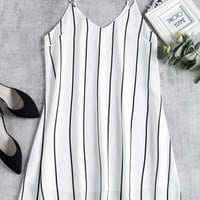 Striped Midi Shift Slip Dress