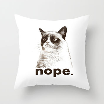NOPE - Grumpy cat. Throw Pillow by John Medbury (LAZY J Studios)